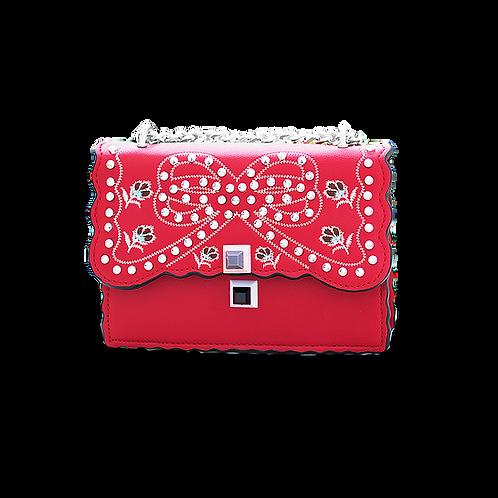 Малка дамска кожена чанта с декоративна бродерия