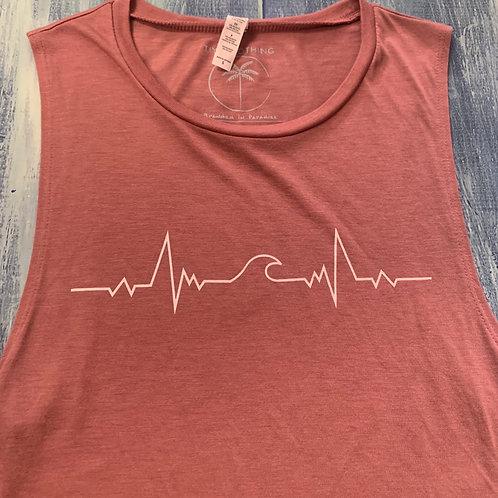 """""""Heart Beat & Wave"""" muscle tank"""