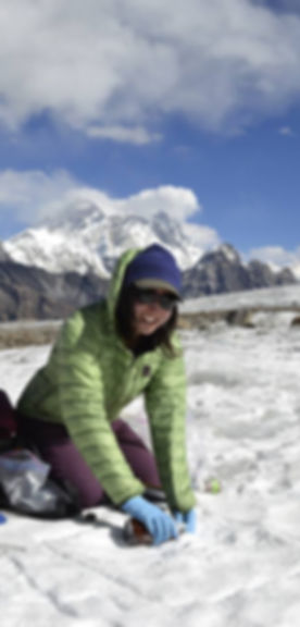 1, Alia sampling snow in Nepal.jpg