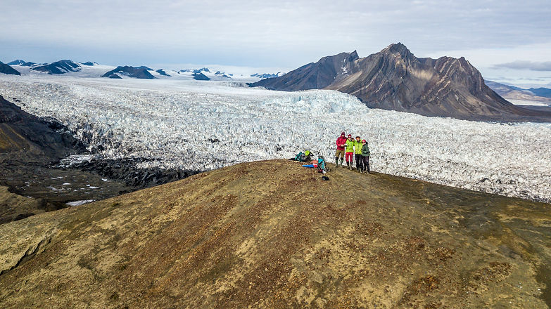 Drone view from Wahlenbergbreen in svalbard