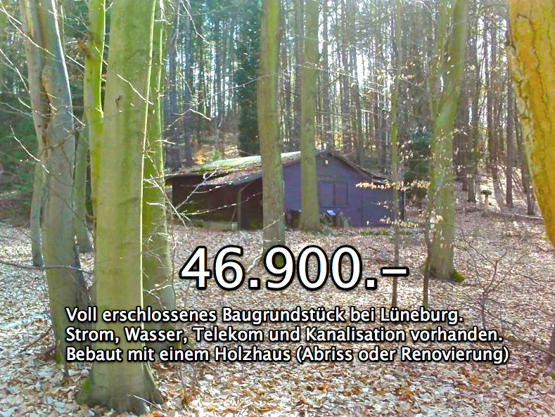 Bei Lüneburg: Baugrundstück im Wald