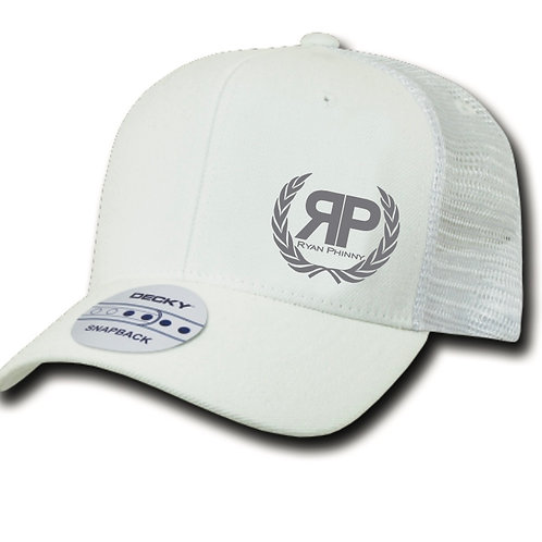White Trucker Hat w/ Grey Logo