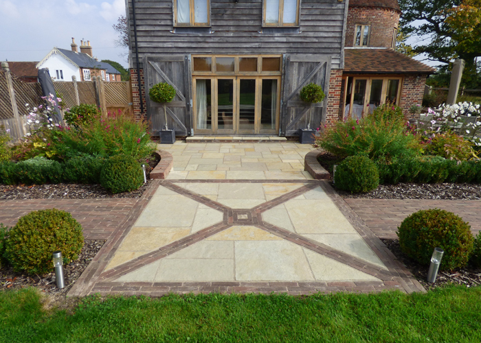 Limestone patio sealed with Resiblock