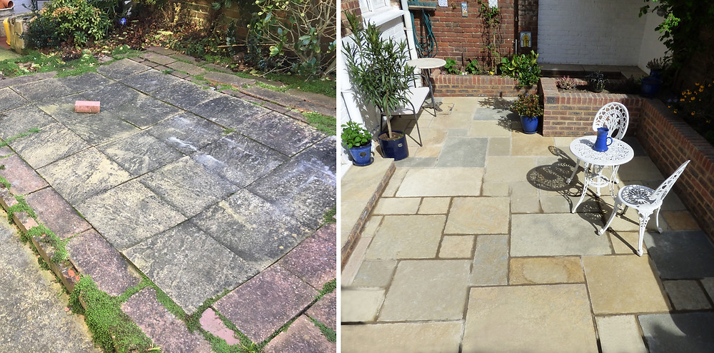 Just transformed a small patio in Tunbridge Wells. Created raised brick beds with seating area and a Brett Limestone Patio.