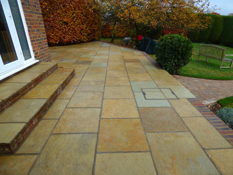 Raised Patio and Curved Pathway