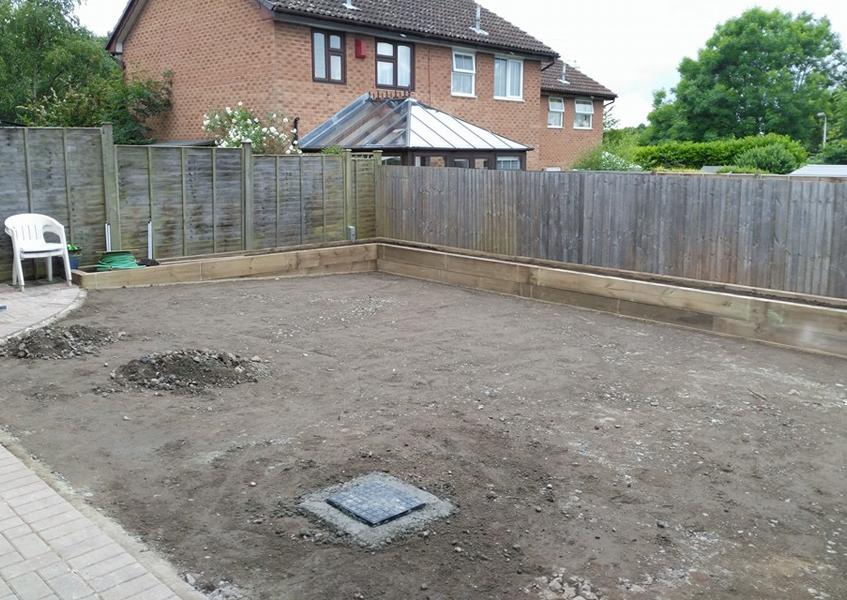 A garden in Tonbridge before artificial lawn installation