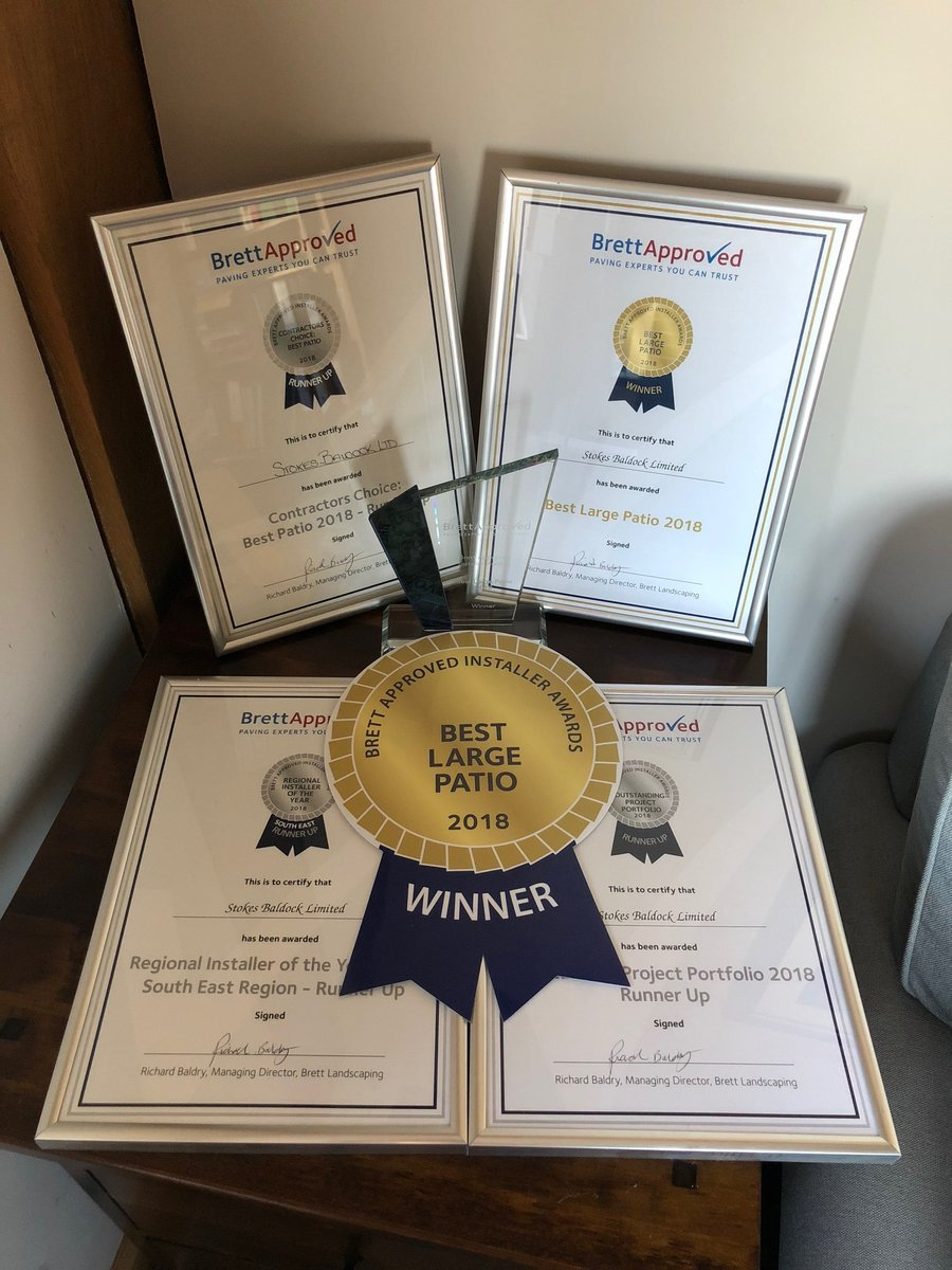 Best Large Patio 2018 Contractors Choice: Best Patio 2018 - Runner Up Outstanding Project portfolio 2018 - Runner Up Regional Installer of the Year South east Region - Runner Up