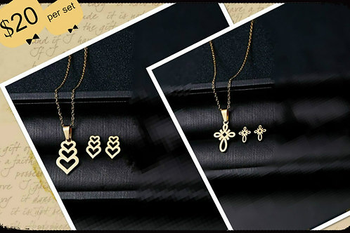 Cross or heart necklace earring set