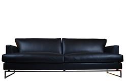 Leather classic sofa with chrome leg