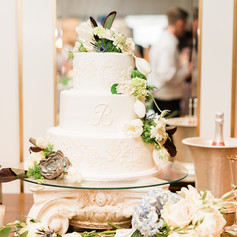 Wedding cake on our antique pad foot table is beautiful