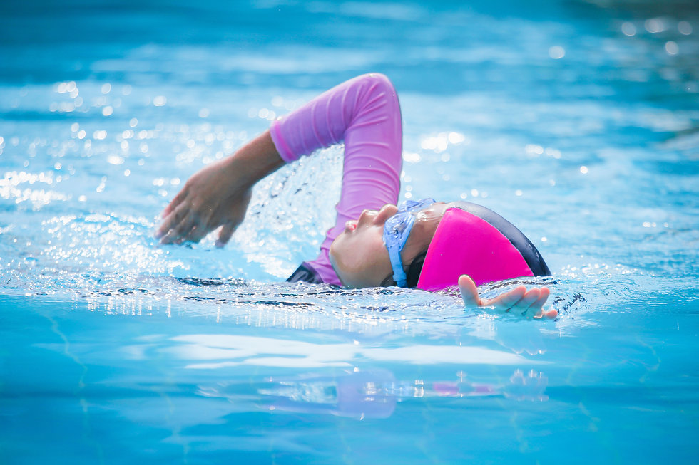 Children girl in swimming pool , Asian G