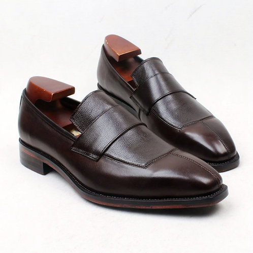STRAP LOAFER IN CALF & PEBBLE LEATHER