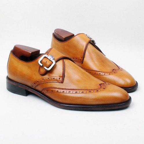WING MONK STRAP IN TAN CALF