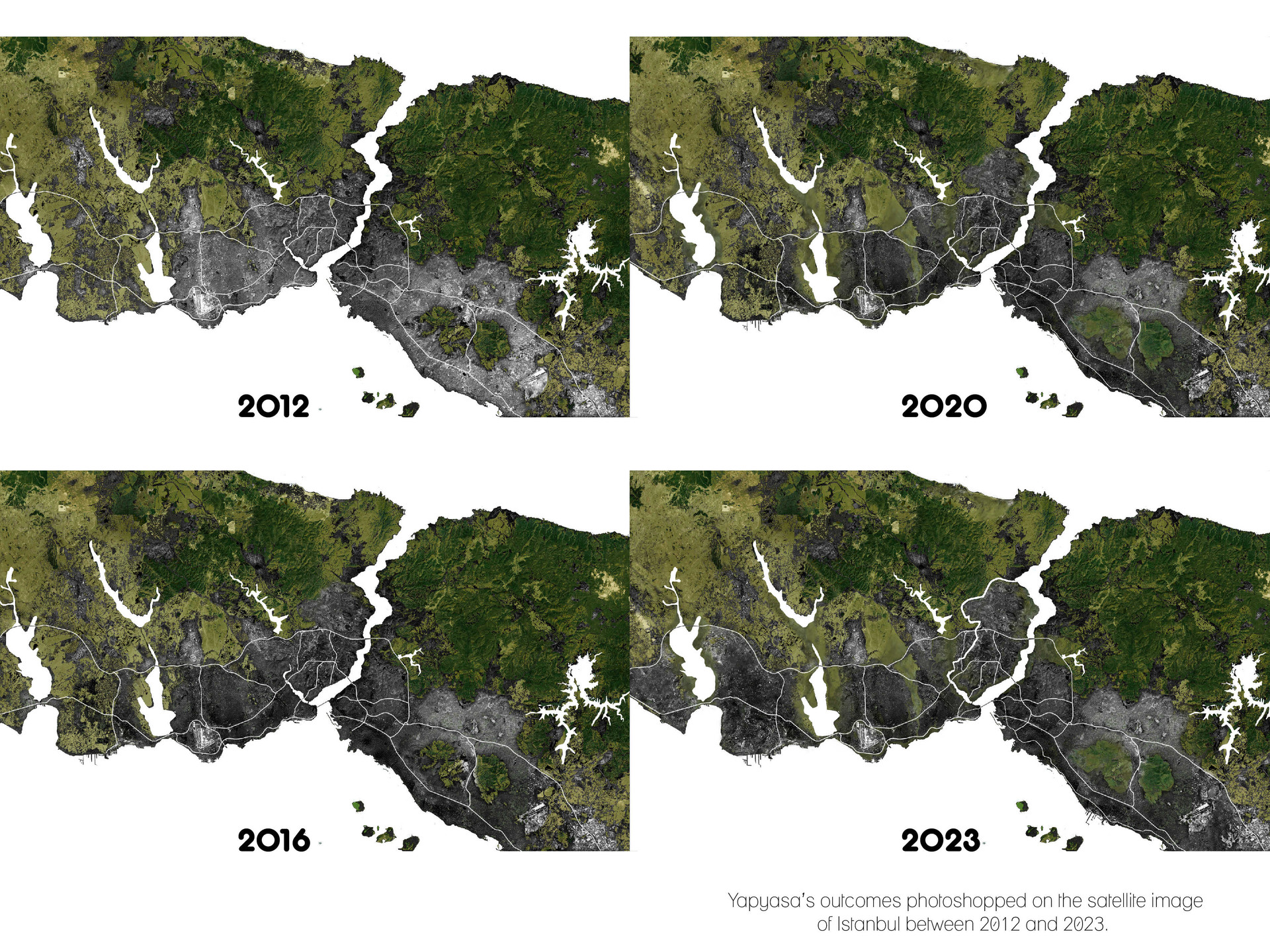 Yapyasa's outcomes photoshopped on the satellite image of Istanbul between 2012 and 2023.