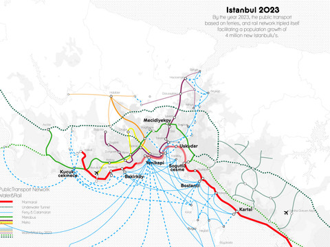 By the year 2023, the public transport based on ferries, and rail network tripled itself facilitating a population growth of 4 million new Istanbullu's.