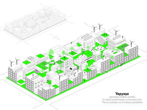 Yapyaşa generates endless varieties for urban transformation on the block level. Here is one example. All rights reserved