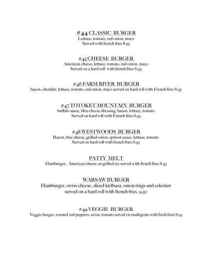 lunch burger menu