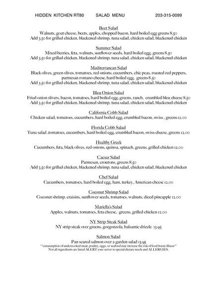 lunch salad menu
