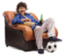 Man on sofa holding beer and popcorn