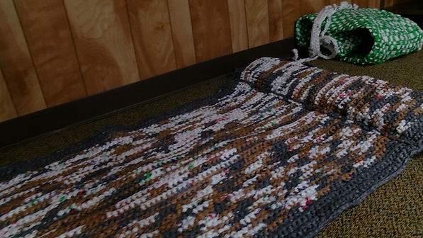 Marshall County RSVP Volunteers are making mats like this one for homeless people