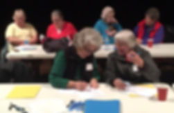 Winter Disaster Phone Bank Training, Ames City Auditorium:  Joan Traylor, Nancy Long, Terry Bowman, Arlyss Peterson, Makaya McAndrews, and Gina McAndrews
