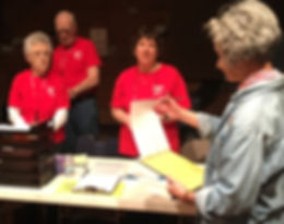 Spring Disaster Drill Training, Ames City Auditorium:  Marilyn and Pat Conley, Kathy Woods, and Stephanie Fox