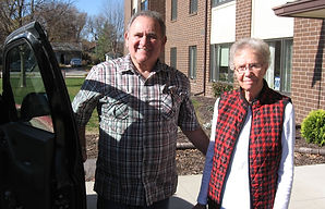 RSVP Volunteer Driver Ken Mahler from Ames provides a ride for Phyllis Mortenson from Story City.