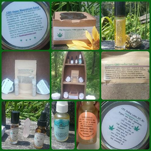 CBD Vegan Organic OIL SALVE lotion bar FACE BODY mist LIP+