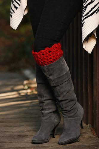 Boot Cuffs - Red Sparkle
