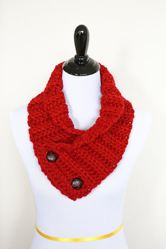 Neck Warmer- Red Ribbed