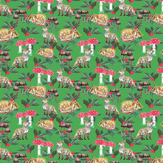 Foxes, Mushrooms and Holly-green.png
