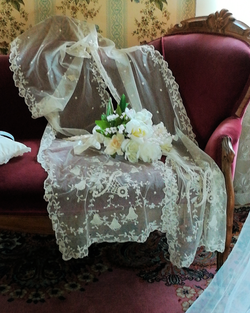 Vintage Lace & White Roses