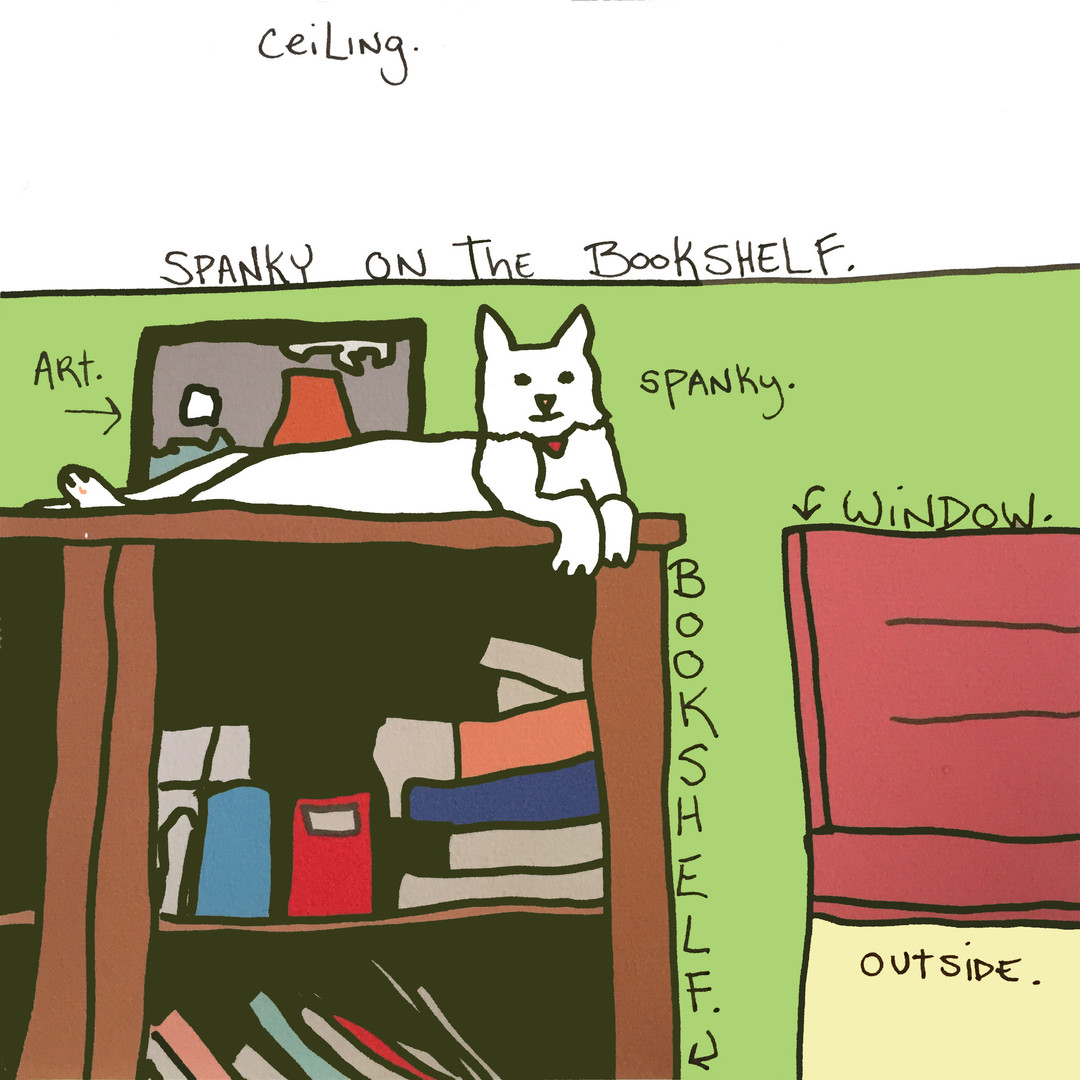 Spanky On The Bookshelf