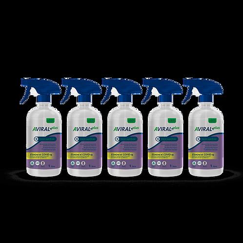 Aviral Plus Uso en Superficies 5 Botellas de 1 Litro