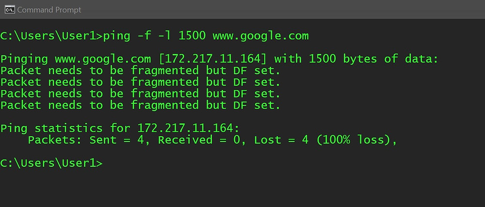 "Command Line showing ""Packet needs to be fragmented but DF set"" indicating the Buffer Size value is too large"