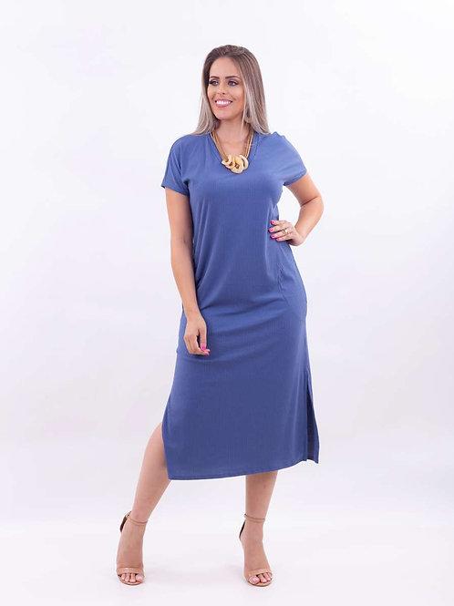 Vestido Rib Decote V Azul