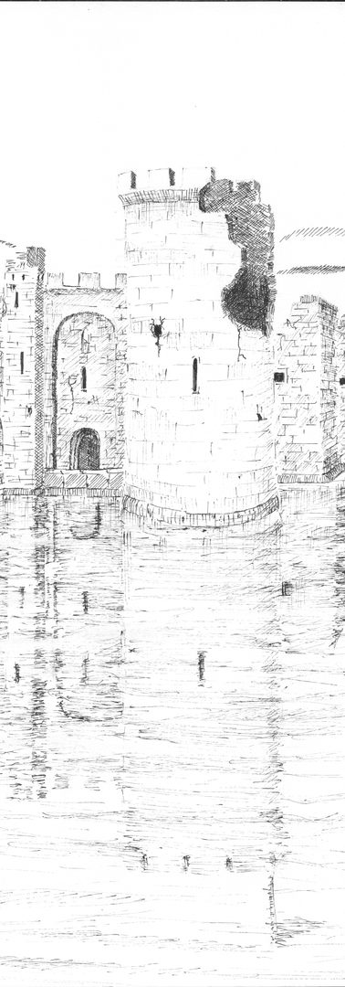 """Castle by pool river, -reflection fixed through centuries- castle destroyed, reflection lives to avenge the destroyers weirdly."""