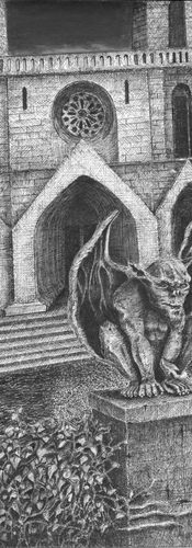 """""""Ancient cathedral - hideous gargoyle -  man seeks to rob - found dead - gargoyle's jaw bloody"""""""