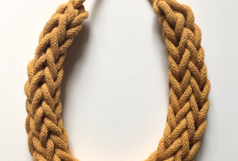 Mustard Yellow Rope Style Cotton Necklace