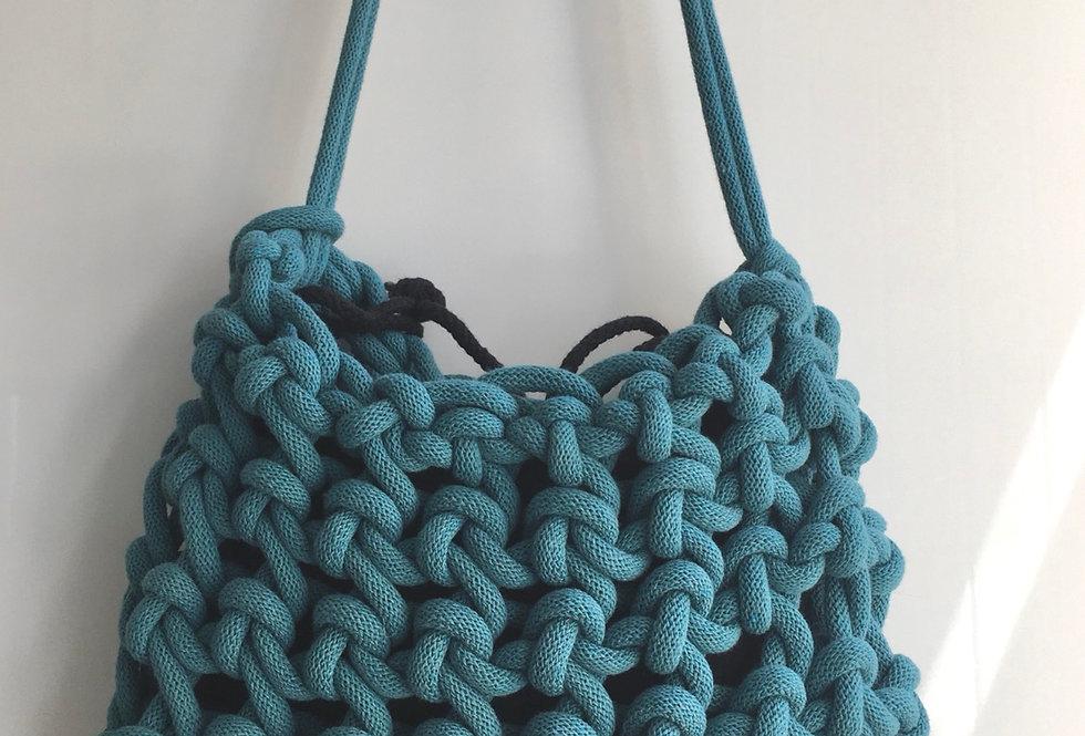Shoulder Bag, Loose Knot Style in Teal