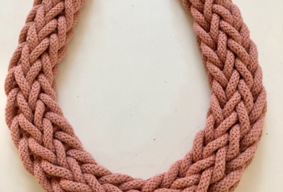blush pink rope style cotton necklace