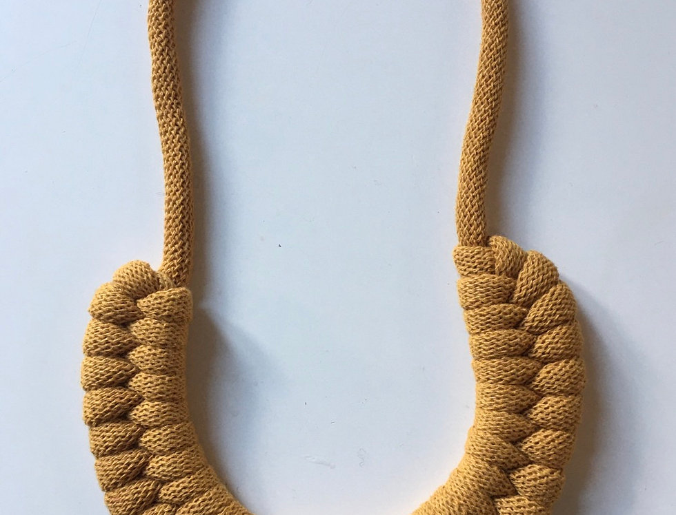 Mustard Yellow Knotted Cotton Cord Necklace