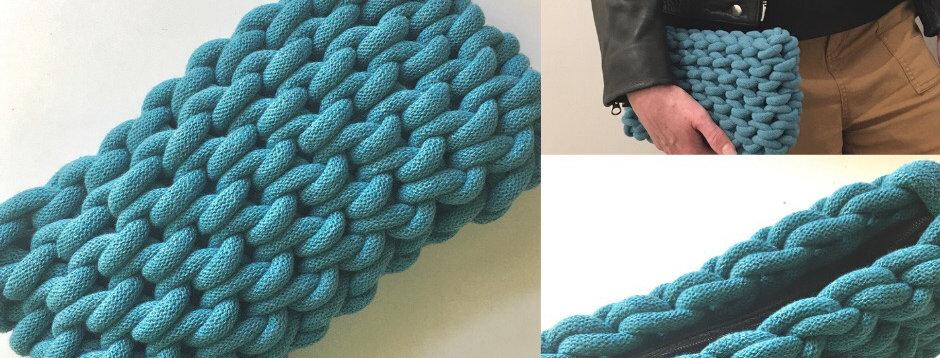 Teal Blue Chunky Clutch Bag