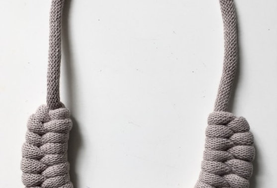 Neutral 'Pearl ' Knotted Cotton Cord Necklace