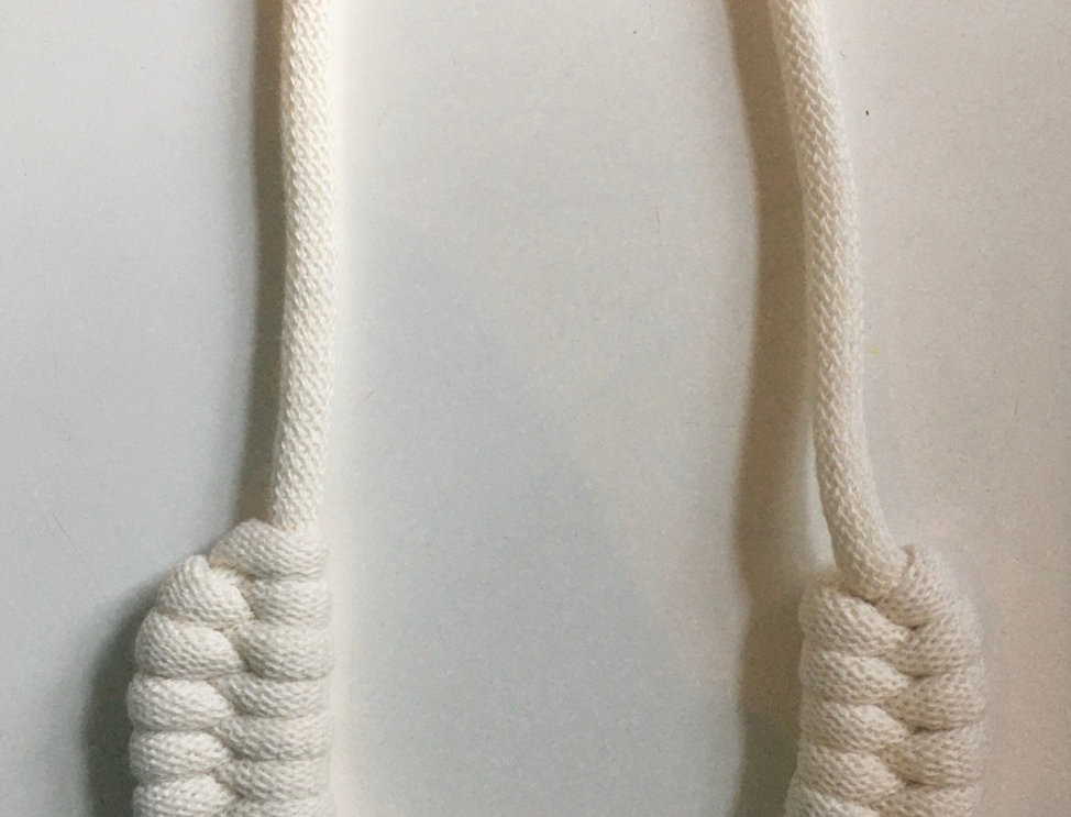 Off White Knotted Cotton Cord Necklace
