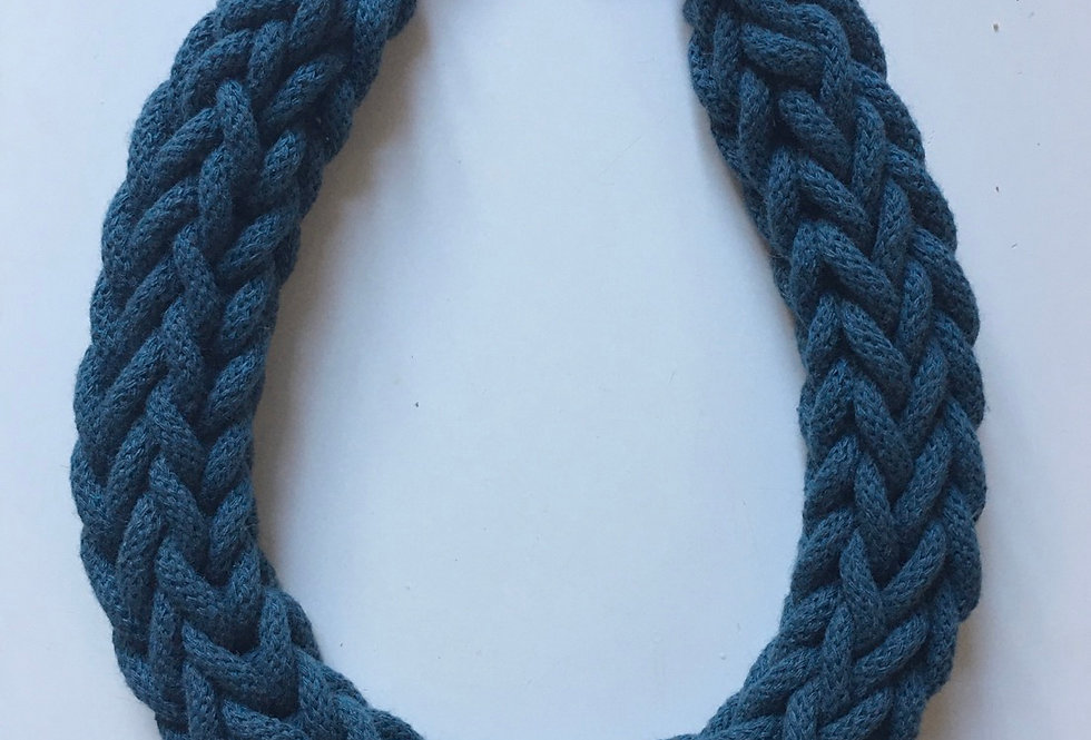 Peacock Blue Rope Style Cotton Necklace