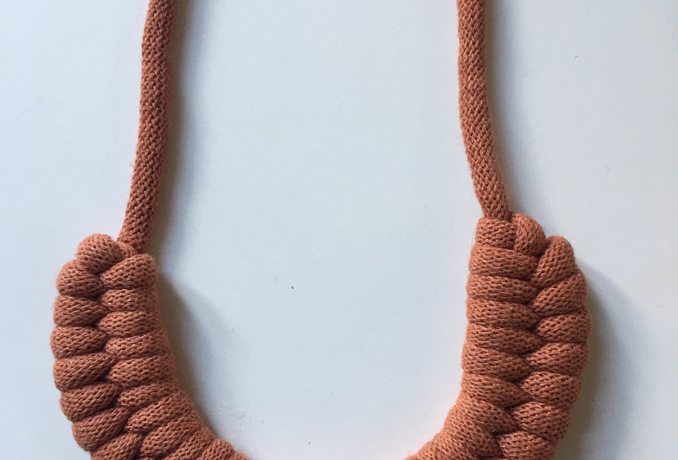 Terracotta Knotted Cotton Cord Necklace
