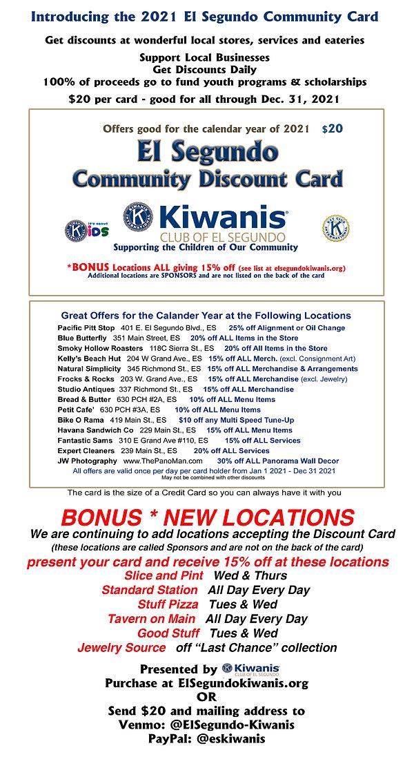 ES Community Discount card  ad. w sponso