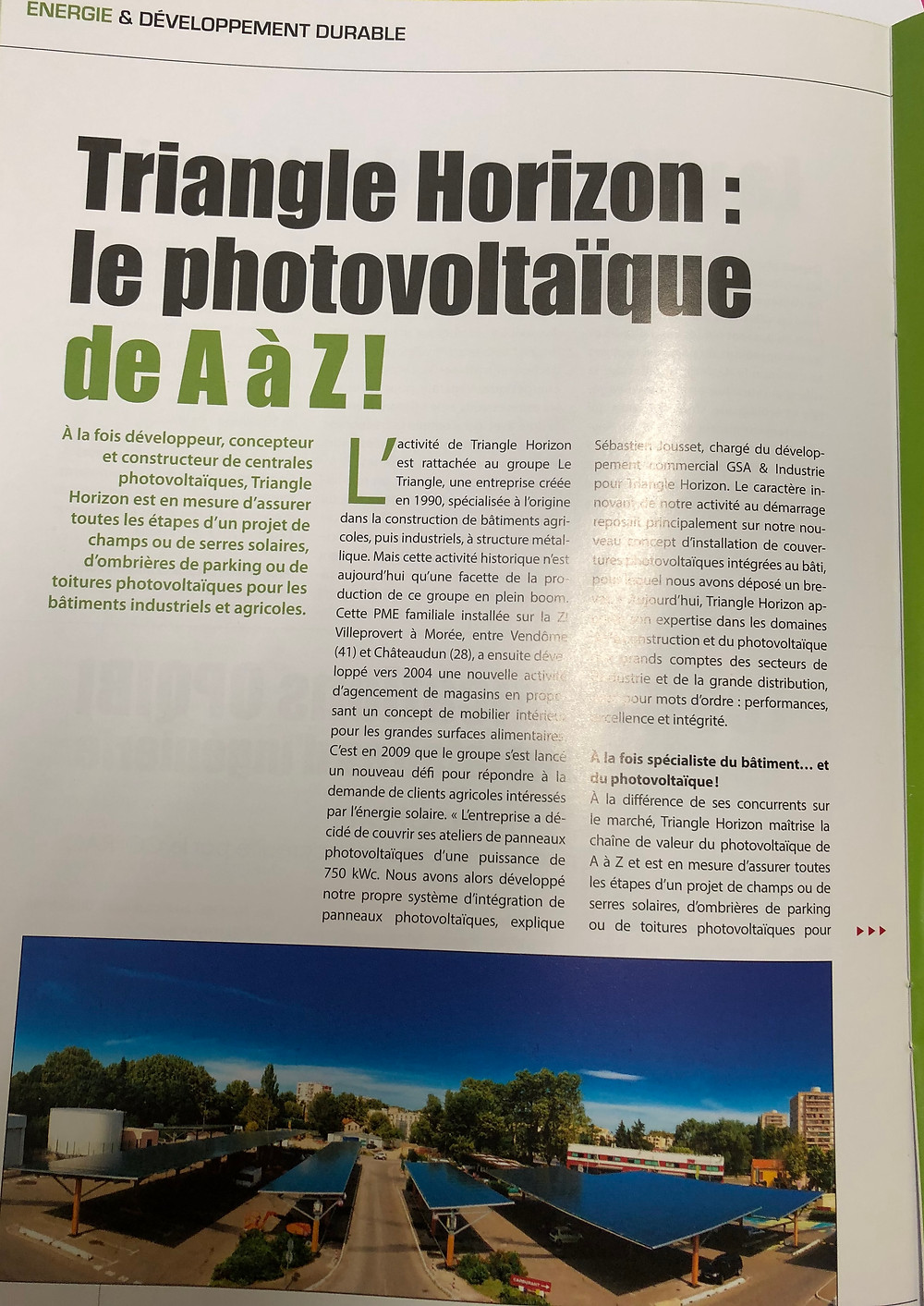 Article Green Innovation TRIANGLE HORIZON le photovoltaïque  de A à Z !