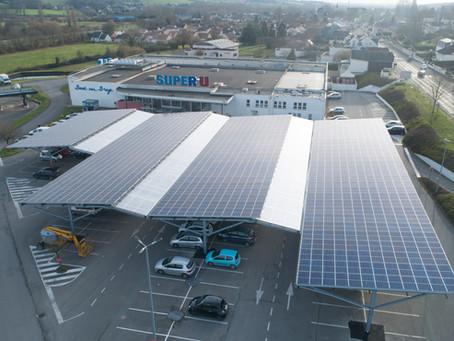 Autoconsommation : des ombrières de parking solaire pour le Super U de Bessé-sur-Braye